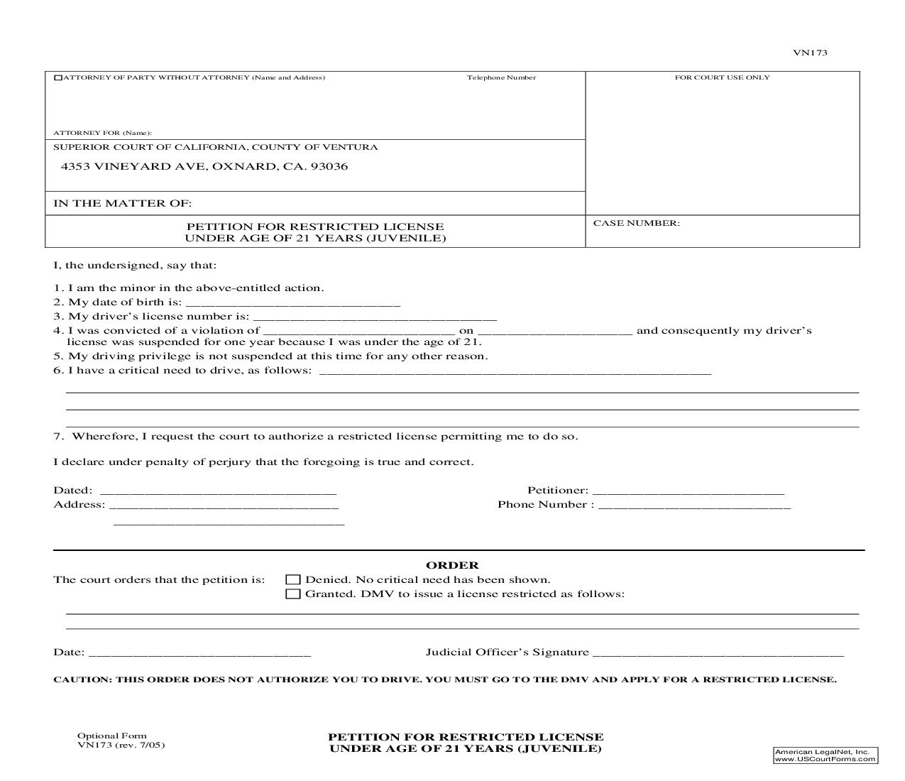 Petition For Restricted License Under Age Of 21 Years (Juvenile) {VN173} | Pdf Fpdf Doc Docx | California