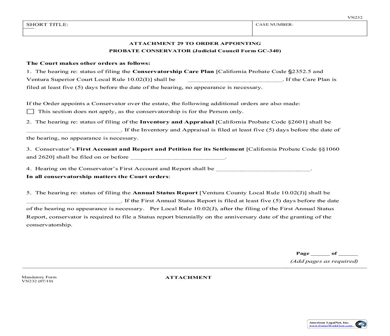 Attachment 29 To Order Appointing Probate Conservator {VN232} | Pdf Fpdf Doc Docx | California