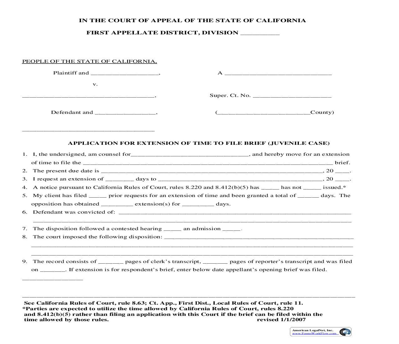 Application For Extention Of Time To File Brief (Juvenile Case)   Pdf Fpdf Doc Docx   California