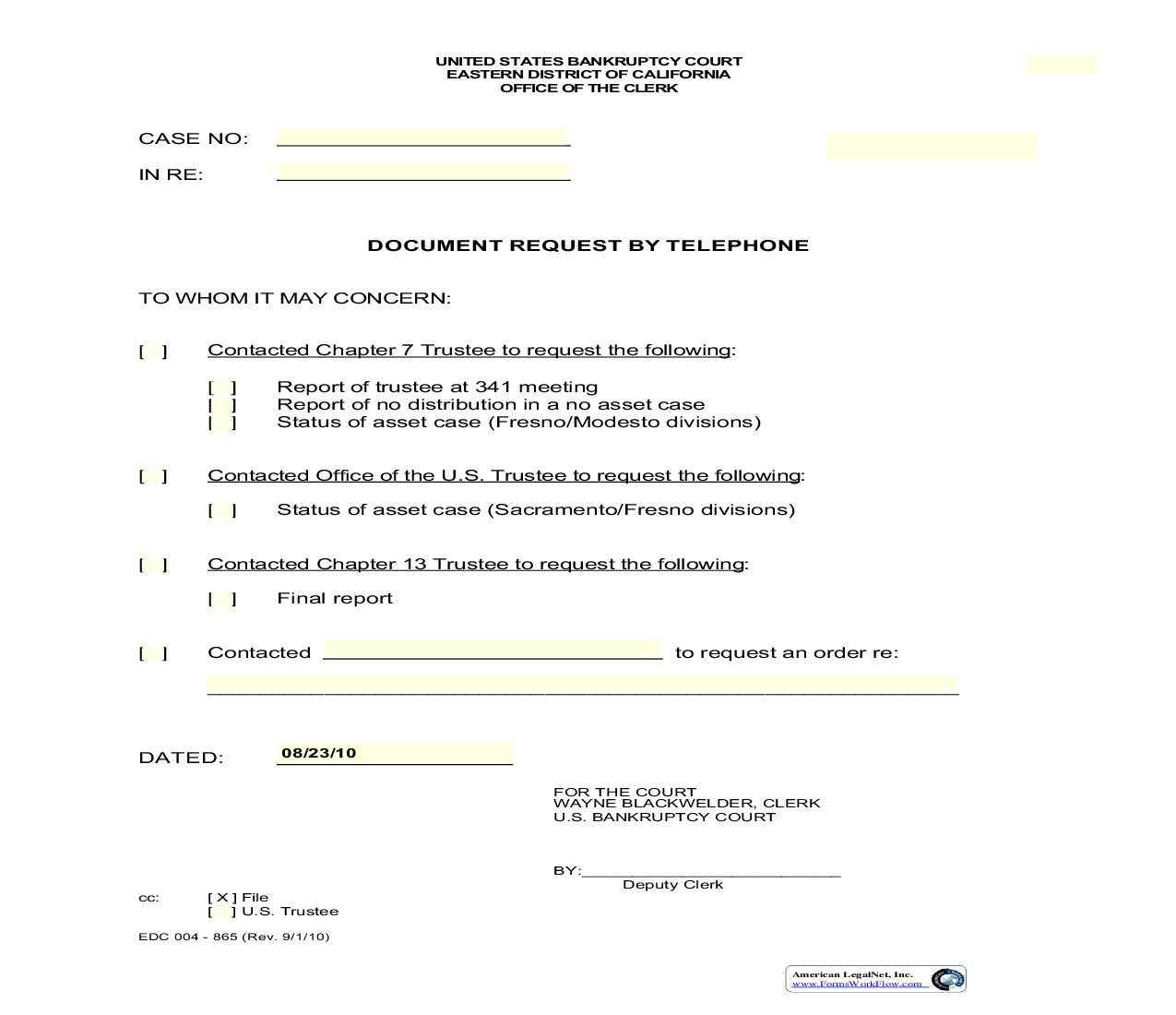 Document Request By Telephone {EDC 004-865} | Pdf Fpdf Doc Docx | California