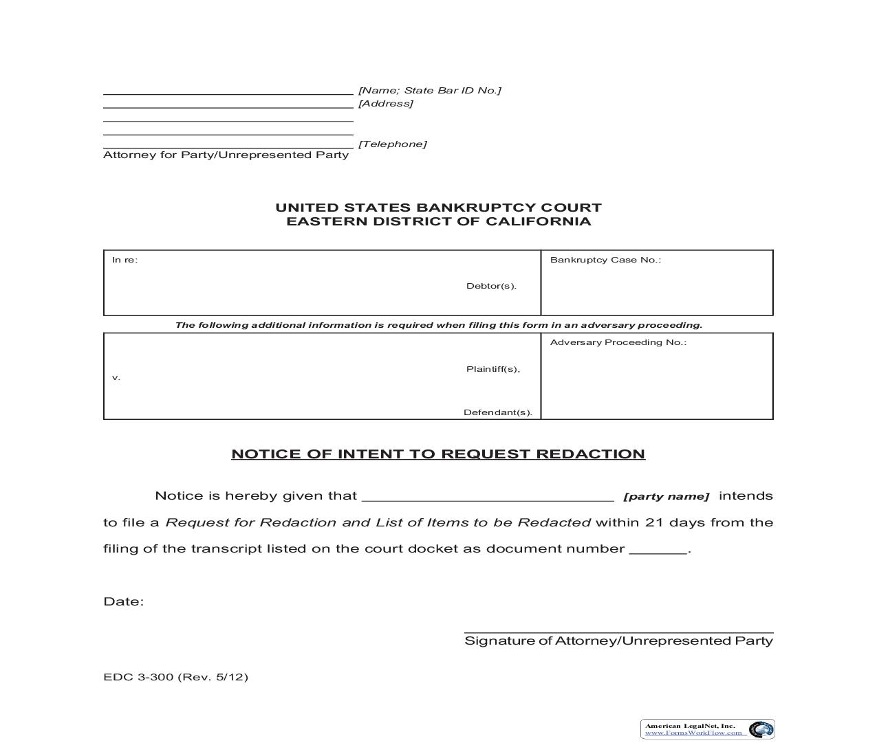 Notice Of Intent To Request Redaction {EDC 3-300}   Pdf Fpdf Doc Docx   California