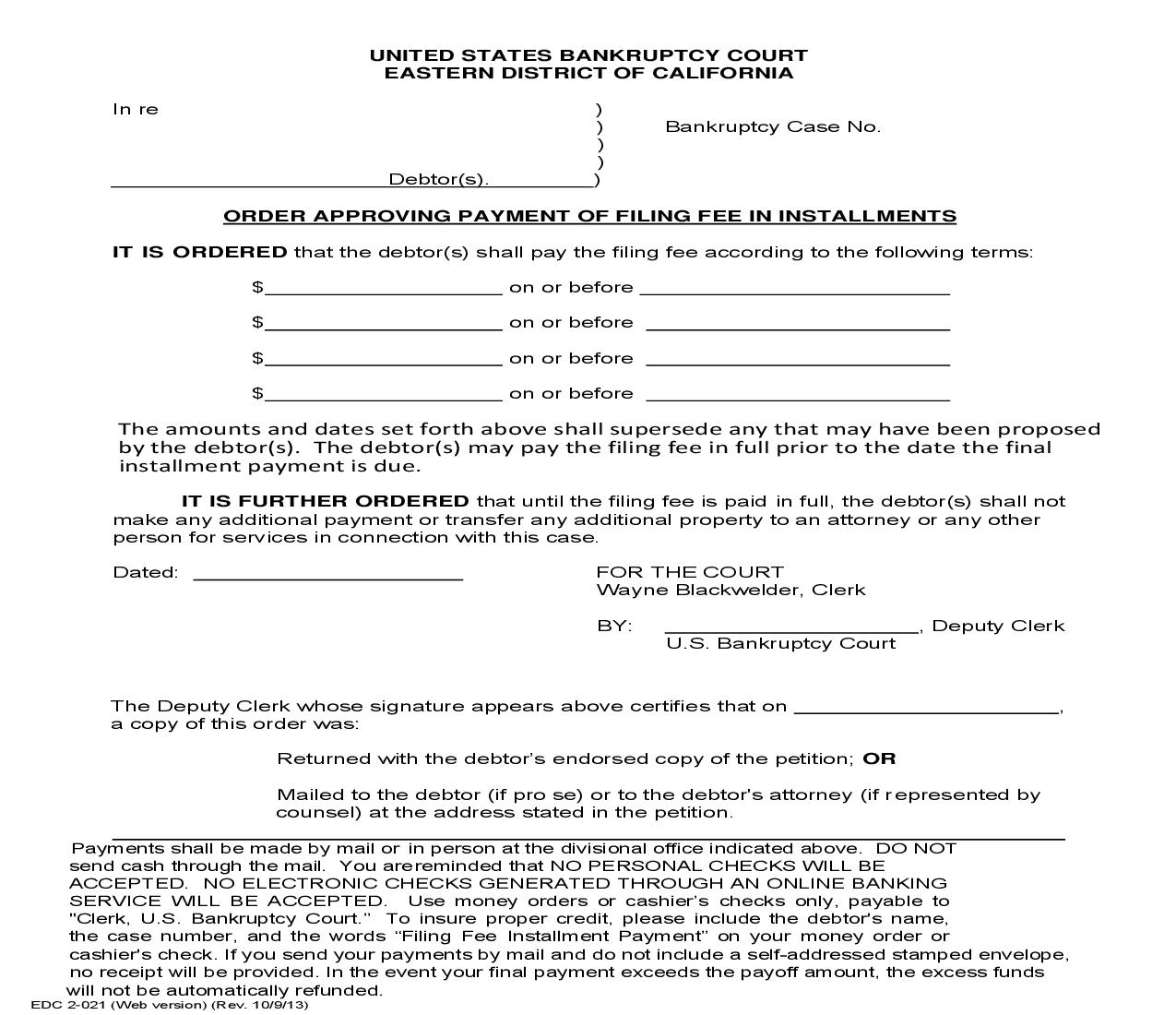 Order Approving Payment Of Filing Fee In Installments {EDC 2-021}   Pdf Fpdf Doc Docx   California