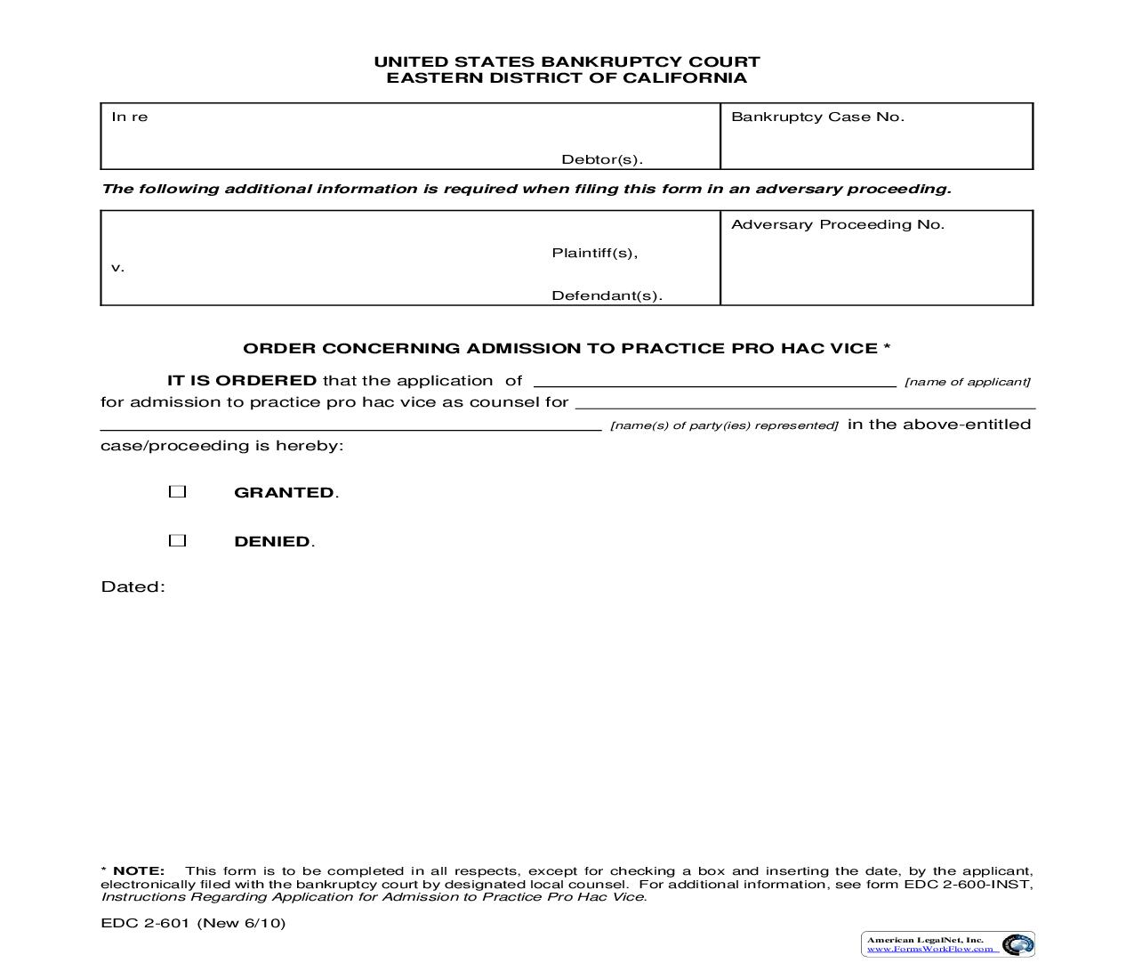 Order Concerning Admission To Practice Pro Hac Vice {EDC 2-601}   Pdf Fpdf Doc Docx   California
