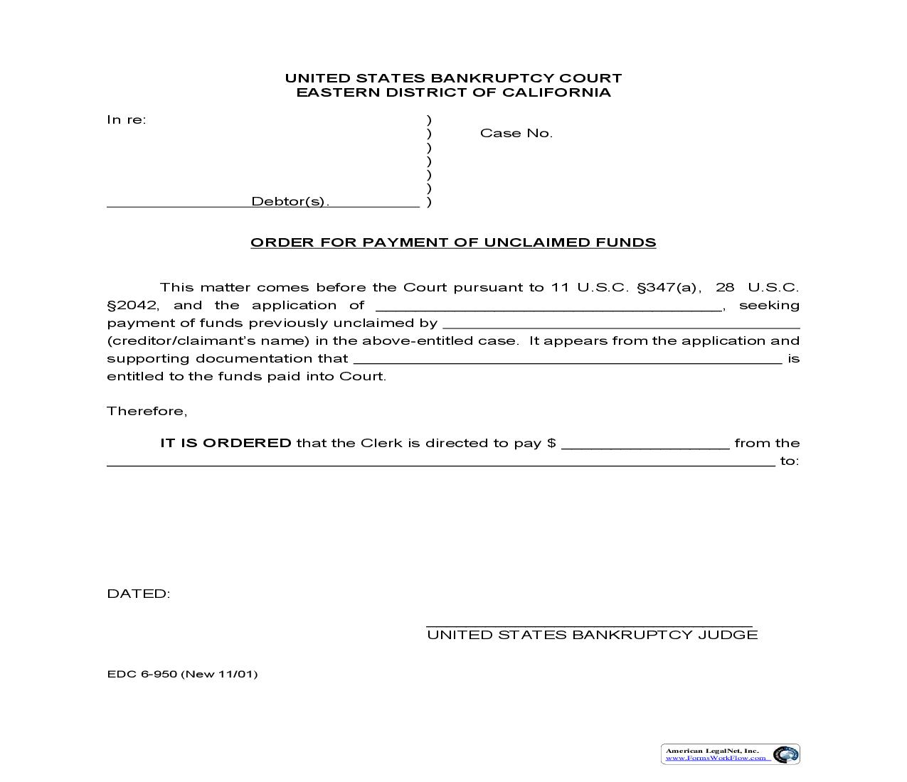 Order For Payment Of Unclaimed Funds {EDC 6-950} | Pdf Fpdf Doc Docx | California