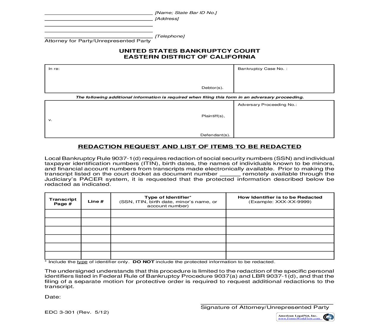 Request For Redaction And List Of List Of Items To Be Redacted {EDC 3-301} | Pdf Fpdf Doc Docx | California