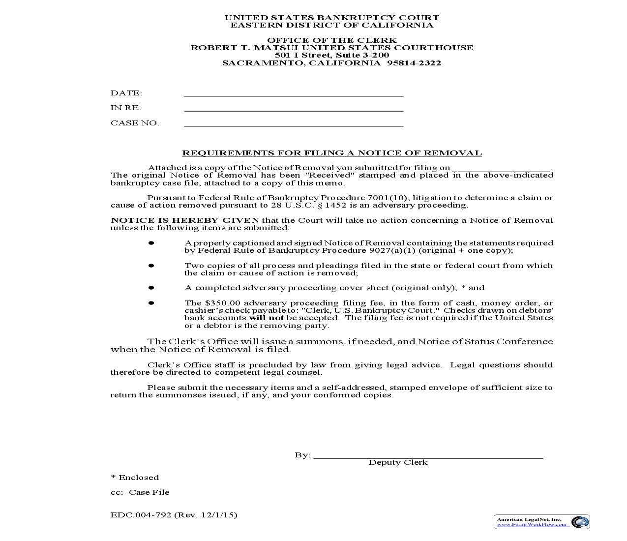 Requirements For Filing A Notice Of Removal {EDC 4-792} | Pdf Fpdf Doc Docx | California