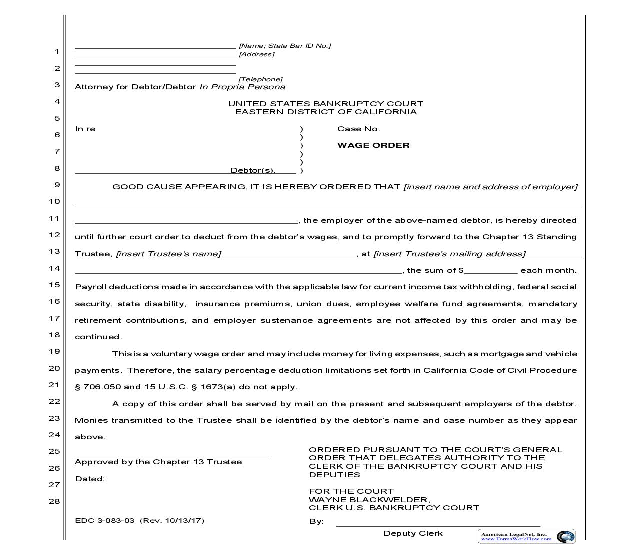 Wage Order (For Use In Chapter 13 Cases Filed On Or After 7-1-03) {EDC 3-083-03} | Pdf Fpdf Docx | California