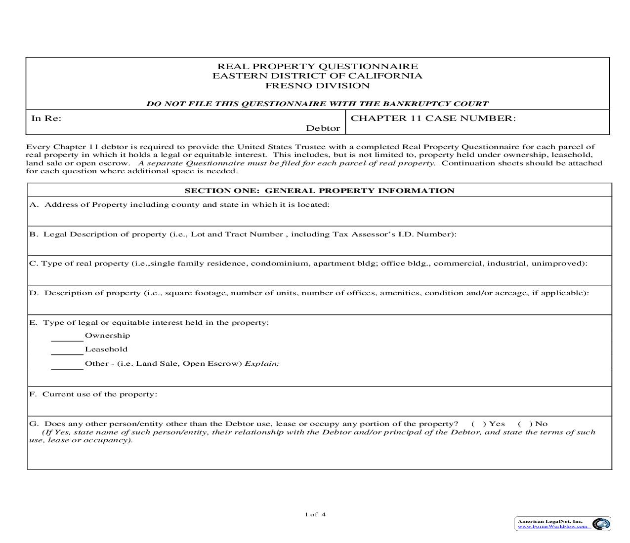 Chapter 11 Real Property Questionnaire (Fresno) | Pdf Fpdf Doc Docx | California