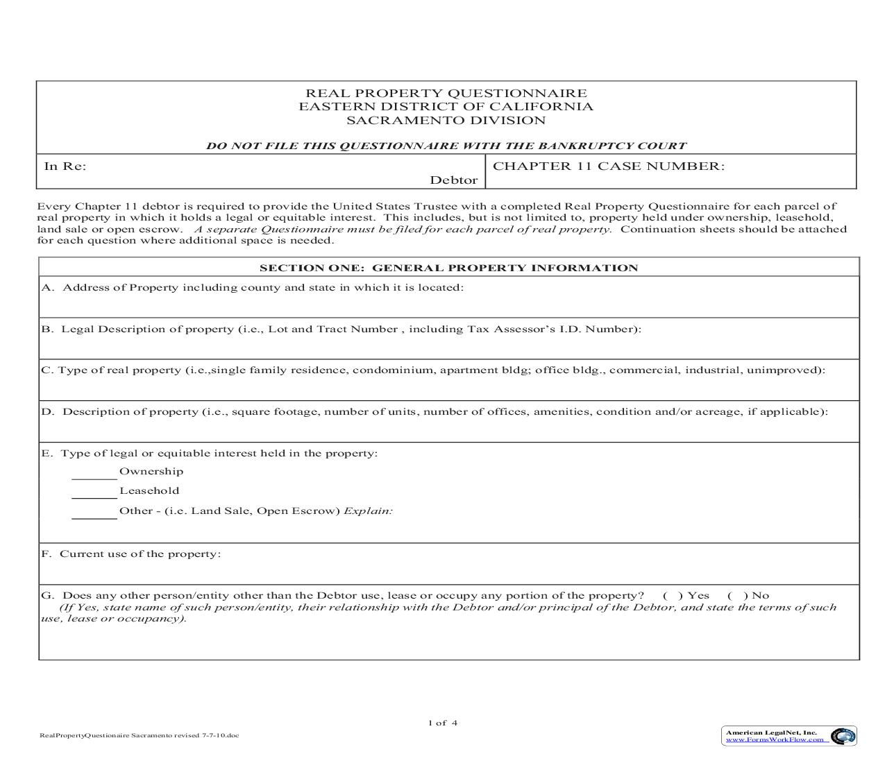 Chapter 11 Real Property Questionnaire (Sacramento) | Pdf Fpdf Doc Docx | California