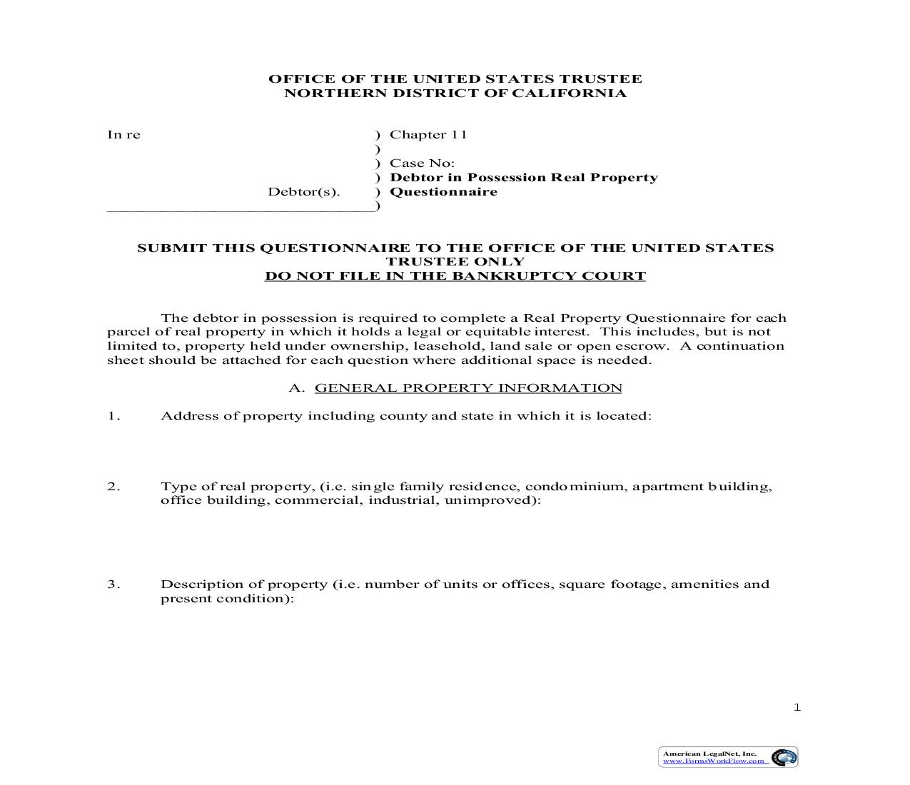 Chapter 11 Debtor In Possession Real Property Questionnaire (US Trustee Northern District)   Pdf Fpdf Doc Docx   California