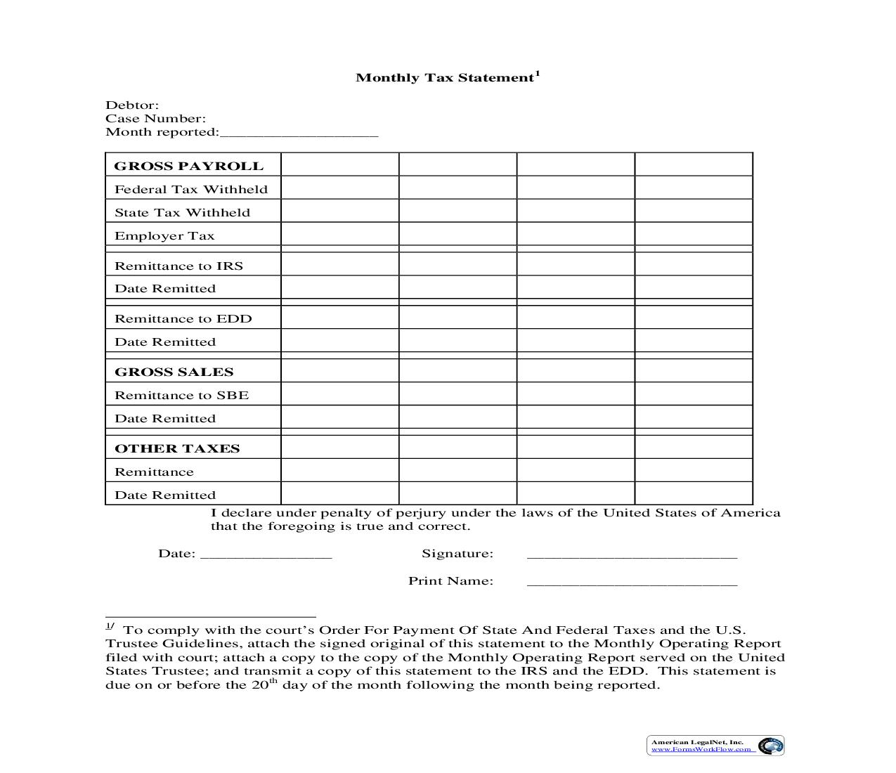 Chapter 11 Monthly Tax Report (US Trustee Northern District)   Pdf Fpdf Doc Docx   California
