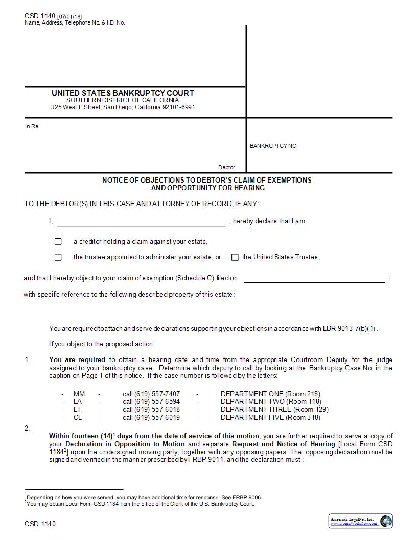 Notice Of Objections To Debtors Claim Of Exemptions Opportunity For Hearing {CSD 1140} | Pdf Fpdf Docx | California