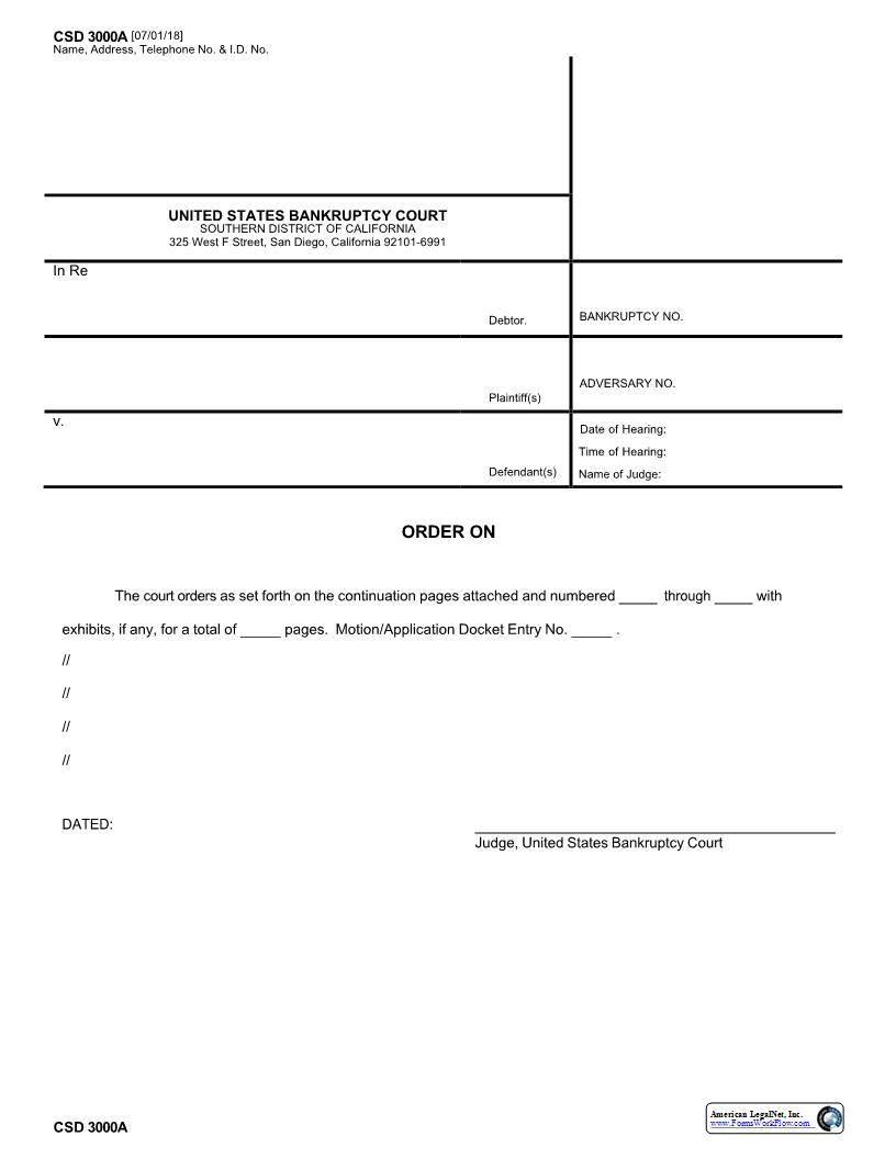Order On (Template For Adversaries) {CSD 3000A} | Pdf Fpdf Doc Docx | California