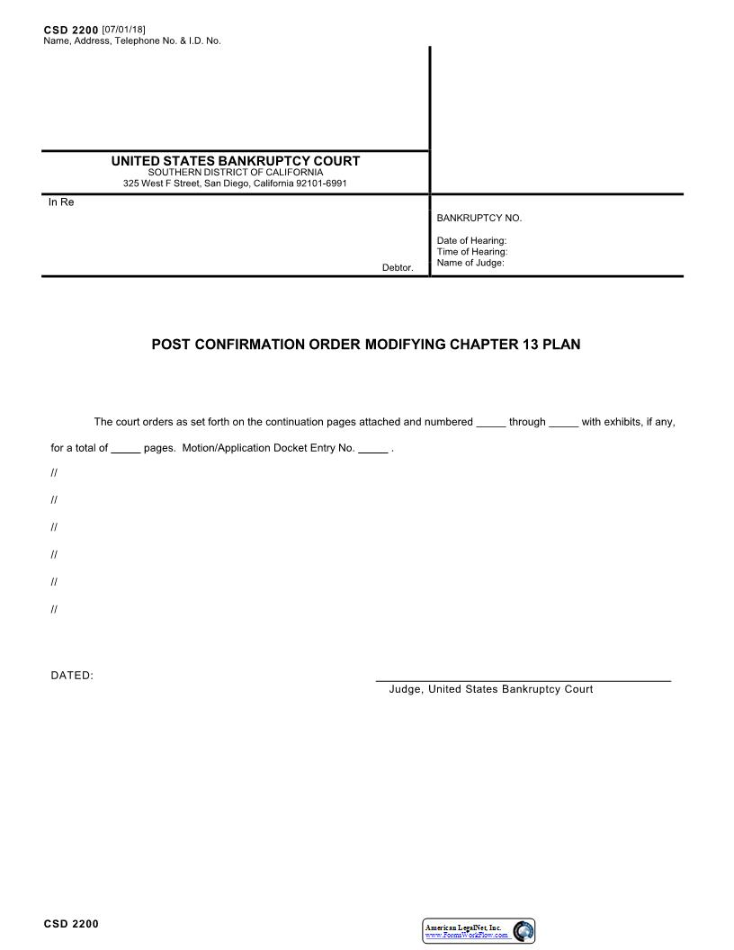 Post Confirmation Order Modifying Chapter 13 Plan  {CSD 2200} | Pdf Fpdf Docx | California