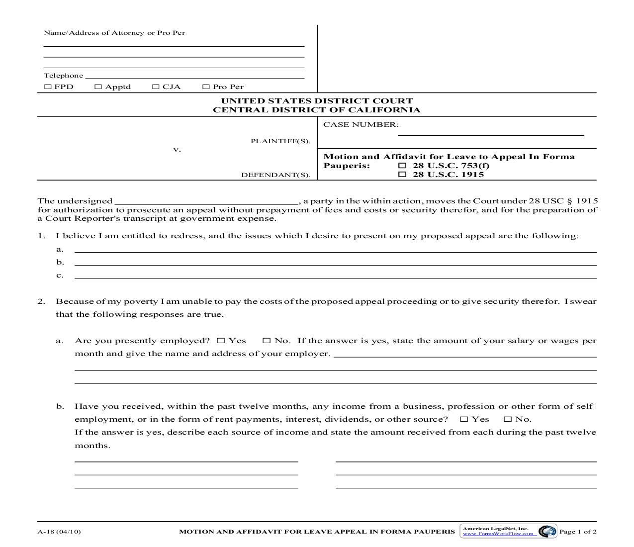 Motion And Affidavit For Leave To Appeal In Forma Pauperis {A-18} | Pdf Fpdf Doc Docx | California