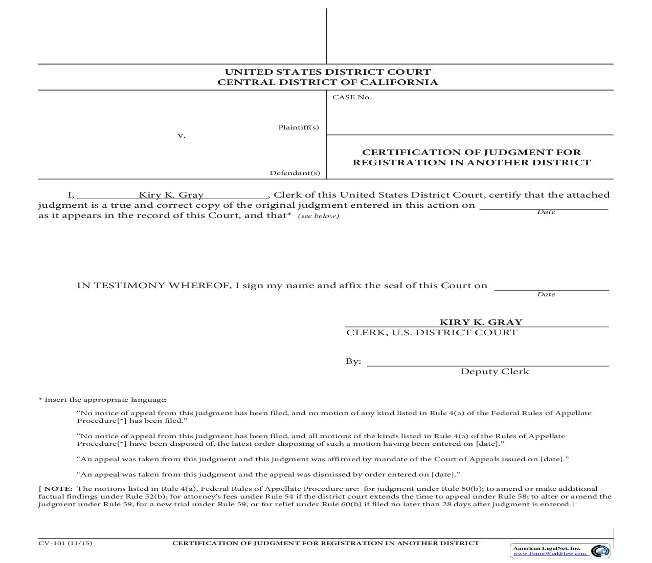 Certification Of Judgment Registration In Another District {CV-101}   Pdf Fpdf Doc Docx   California