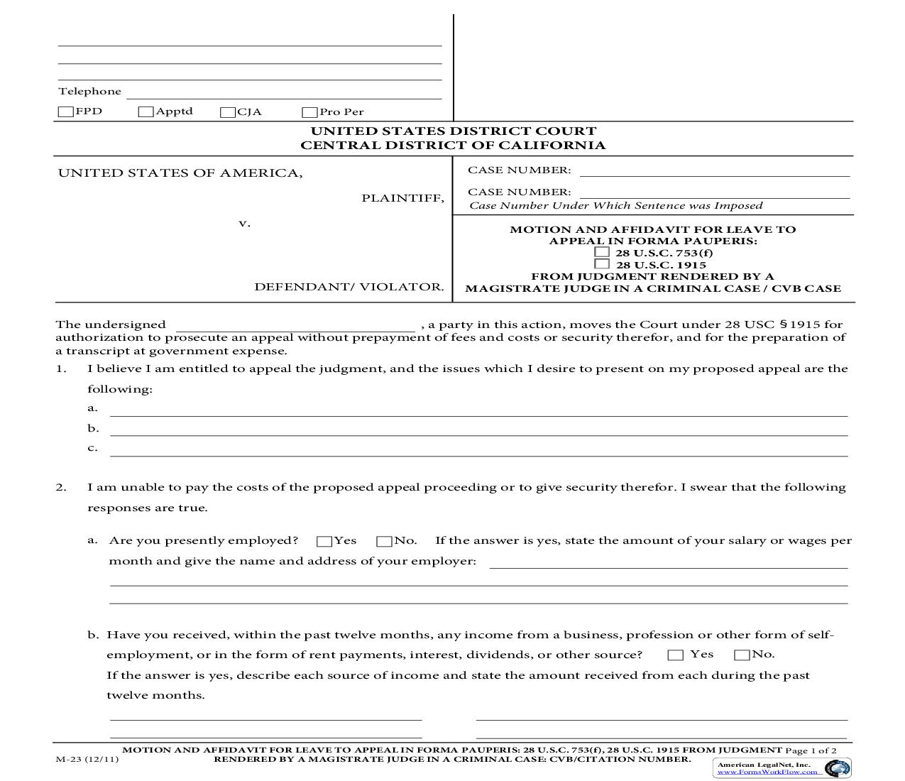 Motion And Affidavit For Leave In Forma Pauperis {M-23} | Pdf Fpdf Doc Docx | California