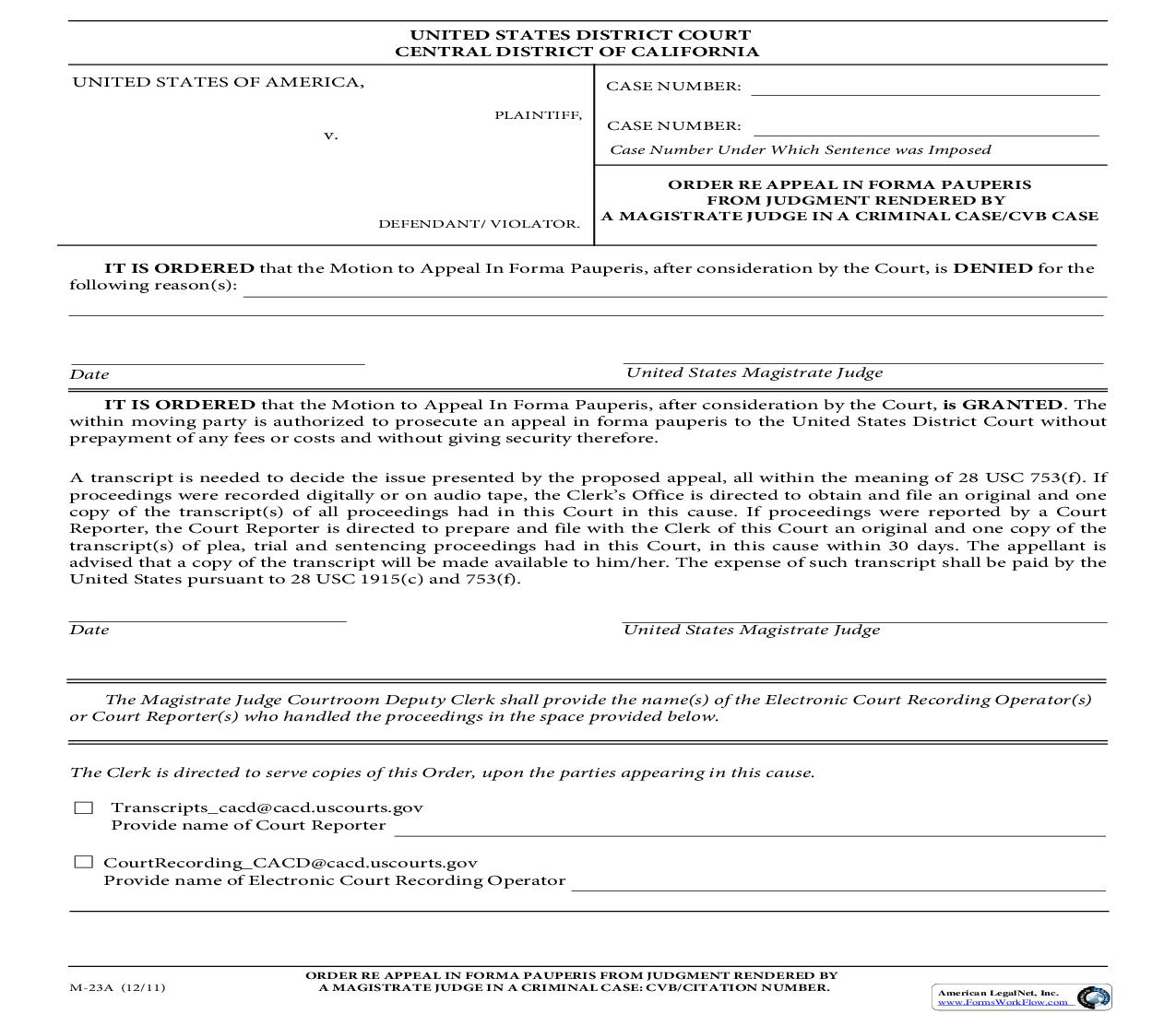 Order Re Appeal In Forma Pauperis From Judgment Rendered {M-23A} | Pdf Fpdf Doc Docx | California