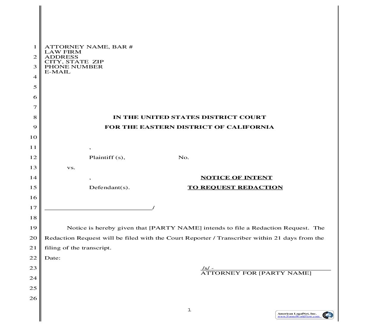 Notice Of Intent To Request Redaction | Pdf Fpdf Doc Docx | California