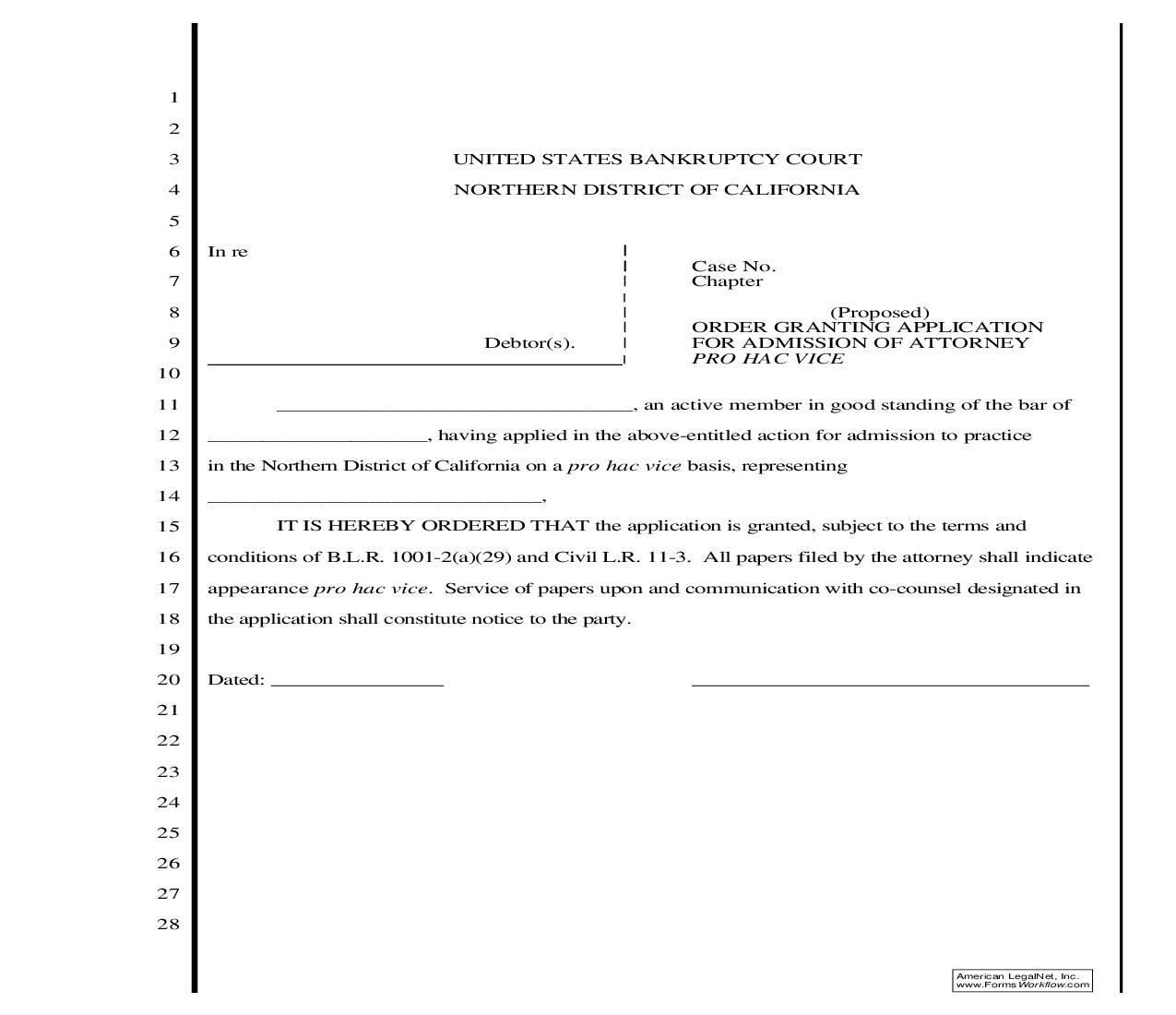 Order Granting Application For Admission Of Attorney Pro Hac Vice (Bankruptcy Court) | Pdf Fpdf Doc Docx | California