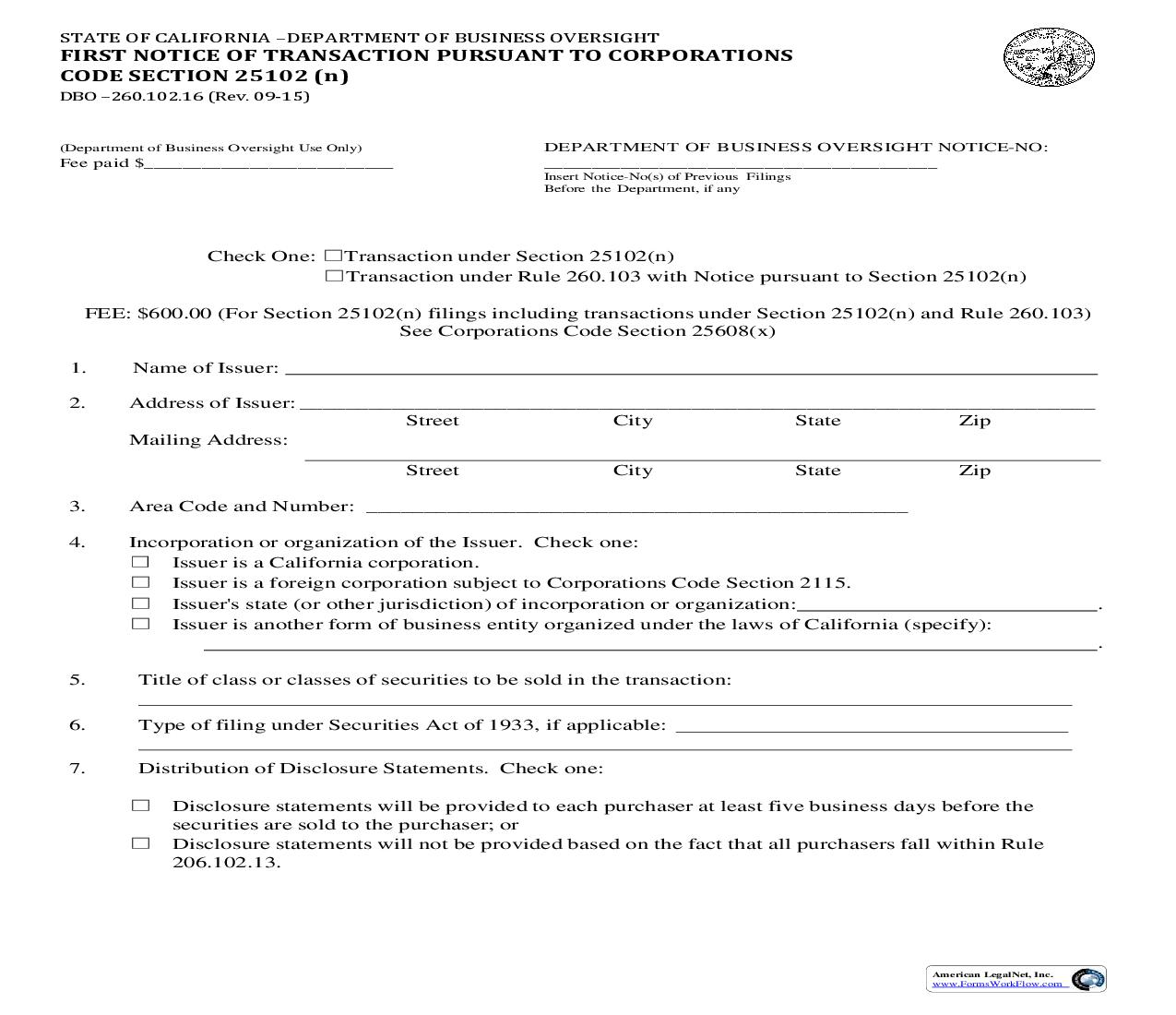 First Notice Of Transaction Pursuant To Corporations Code Section 25102(n) {DBO–260.102.16} | Pdf Fpdf Doc Docx | California