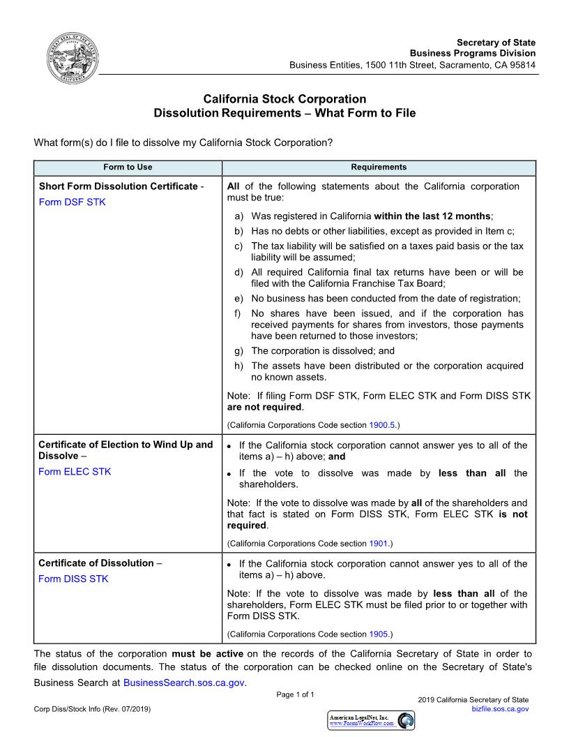 Certificate Of Election To Wind Up And Dissolve (Stock) {ELEC STK}   Pdf Fpdf Doc Docx   California