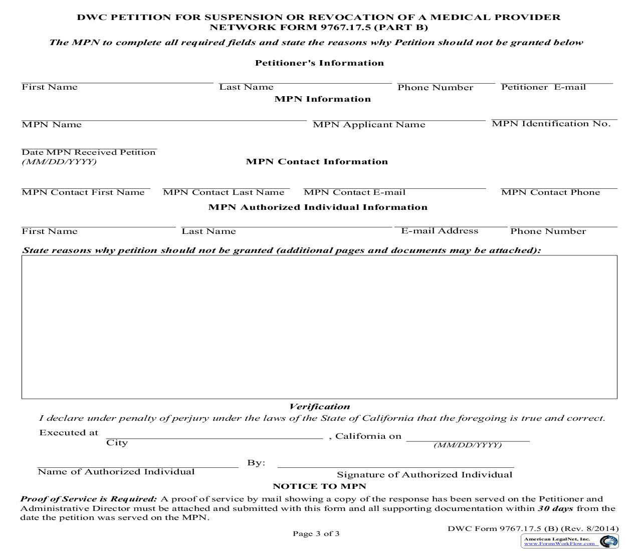 DWC Petition For Suspension Or Revocation Of Medical Provider Network (Part B) {DWC 9767.17.5} | Pdf Fpdf Doc Docx | California
