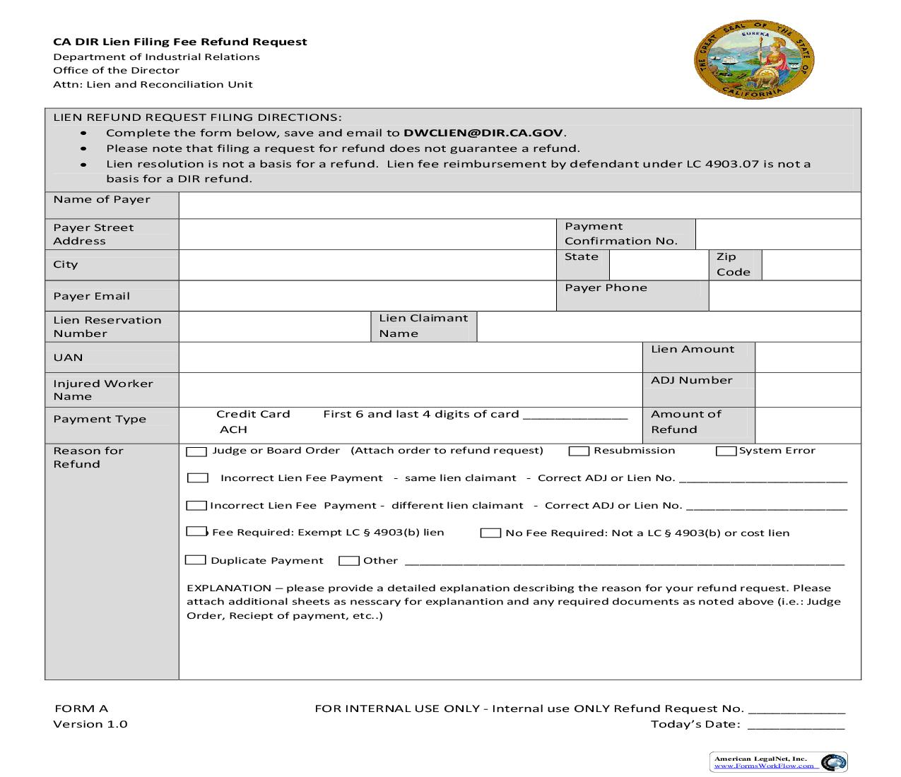 Lien Filing Fee Refund Request {Form A} | Pdf Fpdf Doc Docx | California