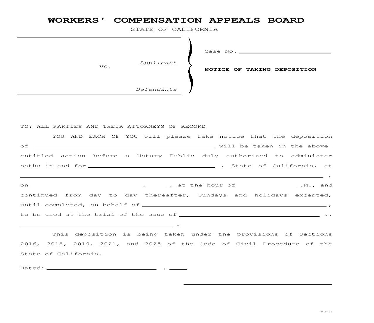 Notice Of Taking Deposition {WC-18}   Pdf Fpdf Doc Docx   California