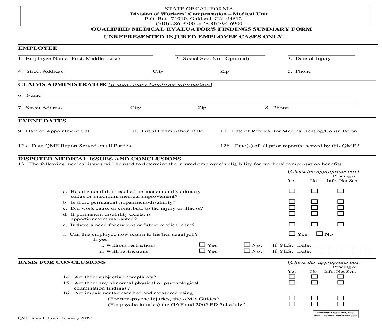 Qualified Or Agreed Medical Evaluator Findings Summary Form {QME 111} | Pdf Fpdf Doc Docx | California