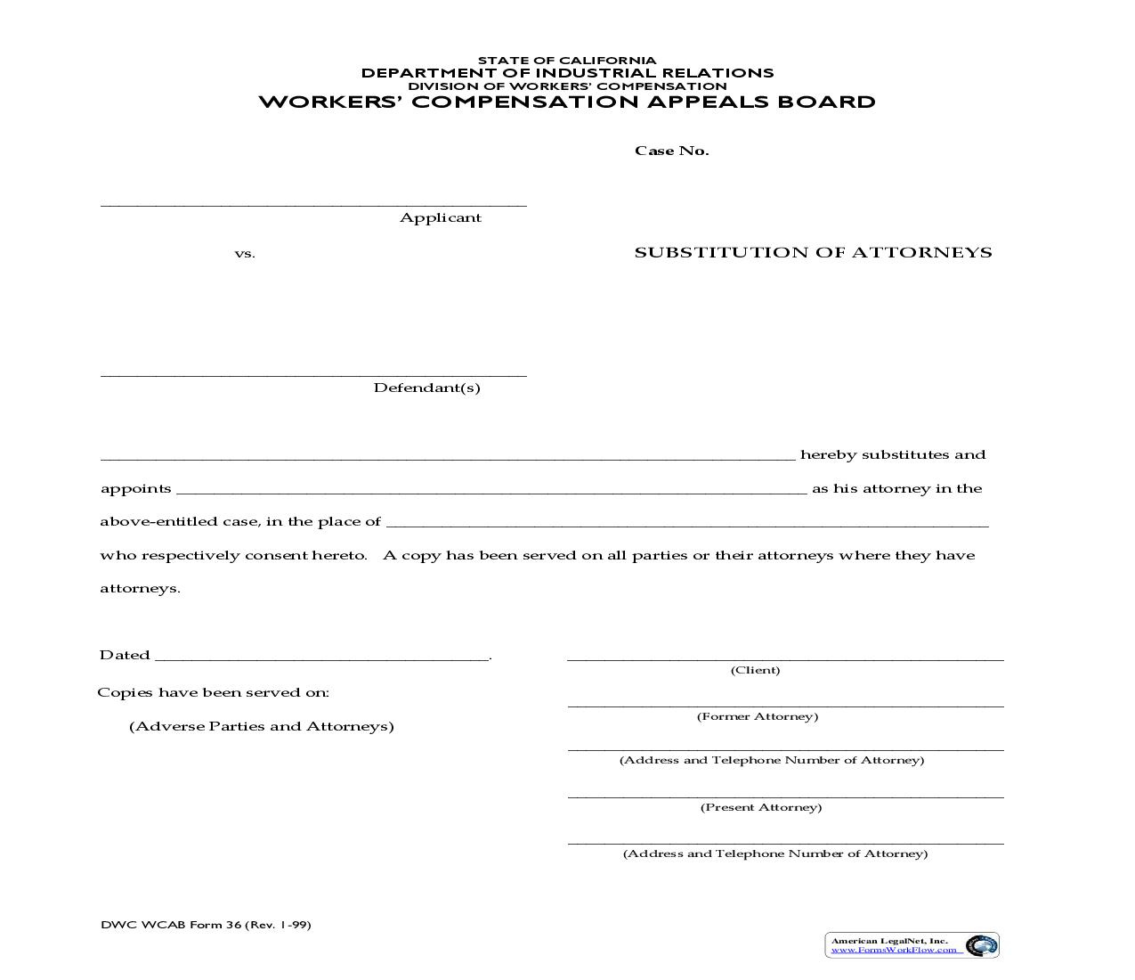 Substitution Of Attorneys {DWC WCAB 36} | Pdf Fpdf Doc Docx | California