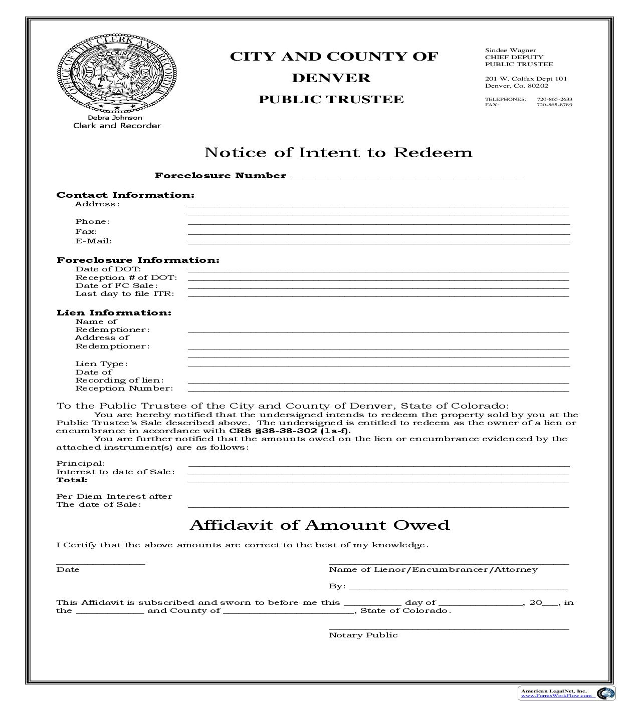 Notice Of Intention To Redeem (Public Trustee Foreclosure Sale - Denver Co.) | Pdf Fpdf Doc Docx | Colorado