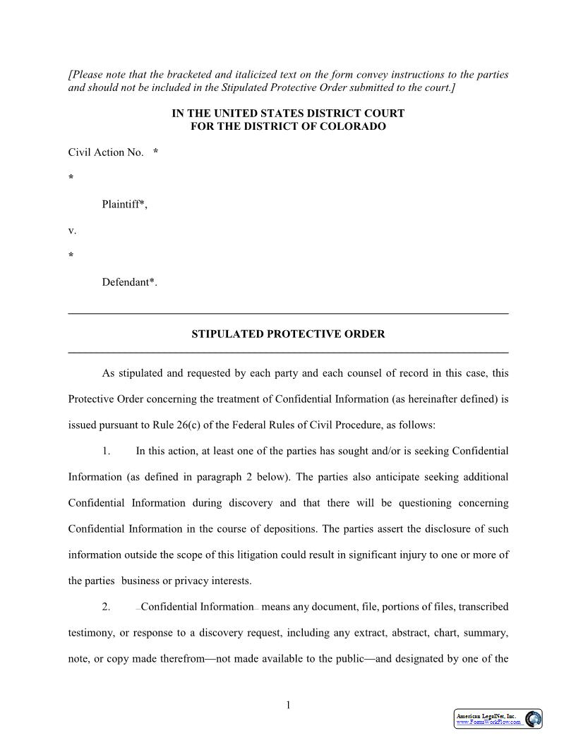 Stipulation, Protective Order And Affidavit (Judge Kane) | Pdf Fpdf Doc Docx | Colorado