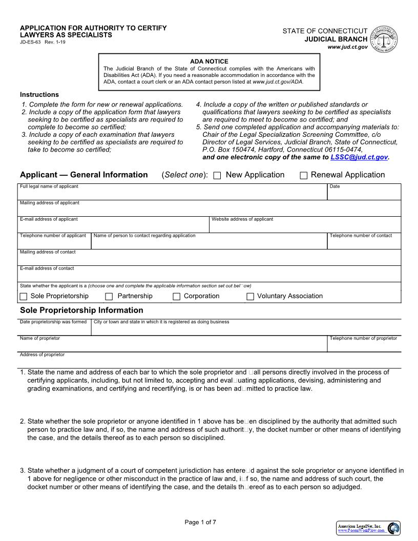 Application For Authority To Certify Lawyers As Specialists {JD-ES-63} | Pdf Fpdf Docx | Connecticut