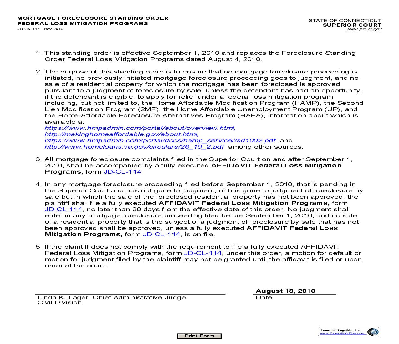Mortgage Foreclosure Standing Order Federal Loss Mitigation Programs {JD-CV-117} | Pdf Fpdf Doc Docx | Connecticut