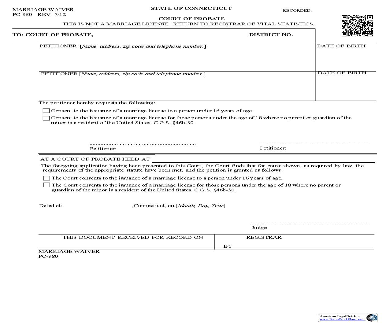 Marriage Waiver {PC-980} | Pdf Fpdf Doc Docx | Connecticut
