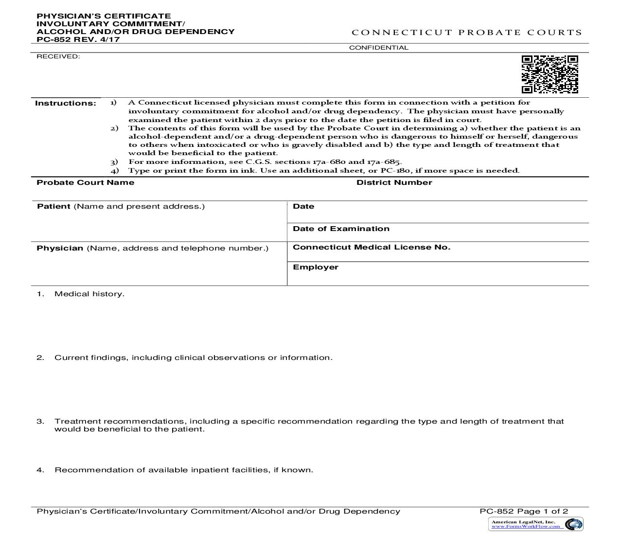 Physicians Certificate Involuntary Commitment Alcohol And Or Drug Dependency {PC-852} | Pdf Fpdf Doc Docx | Connecticut