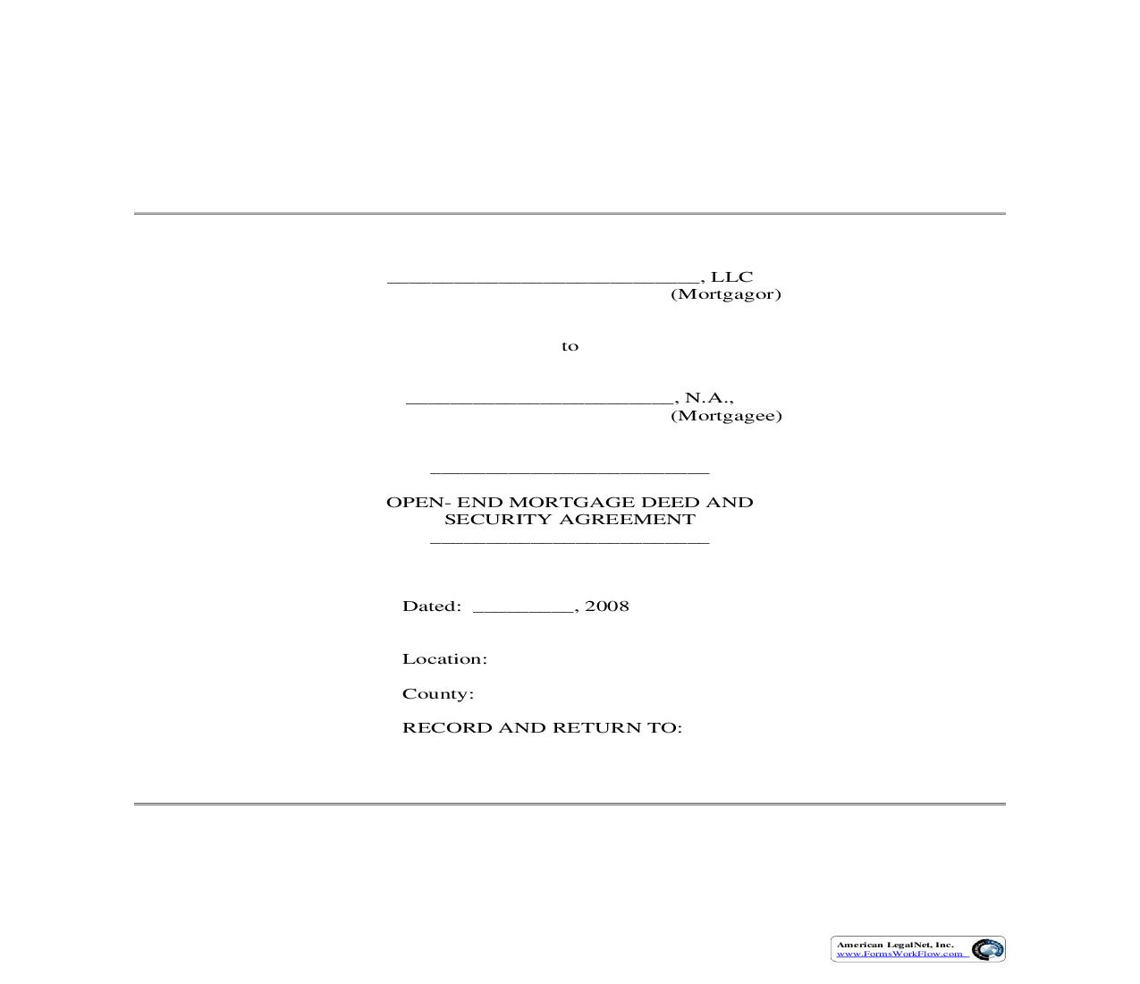 Open End Mortgage Deed And Security Agreement | Pdf Fpdf Doc Docx | Connecticut