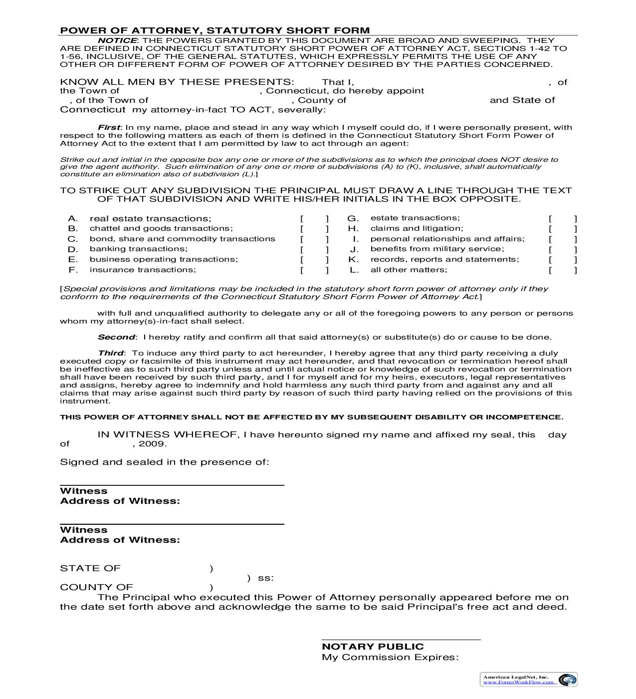 Power Of Attorney | Pdf Fpdf Doc Docx | Connecticut
