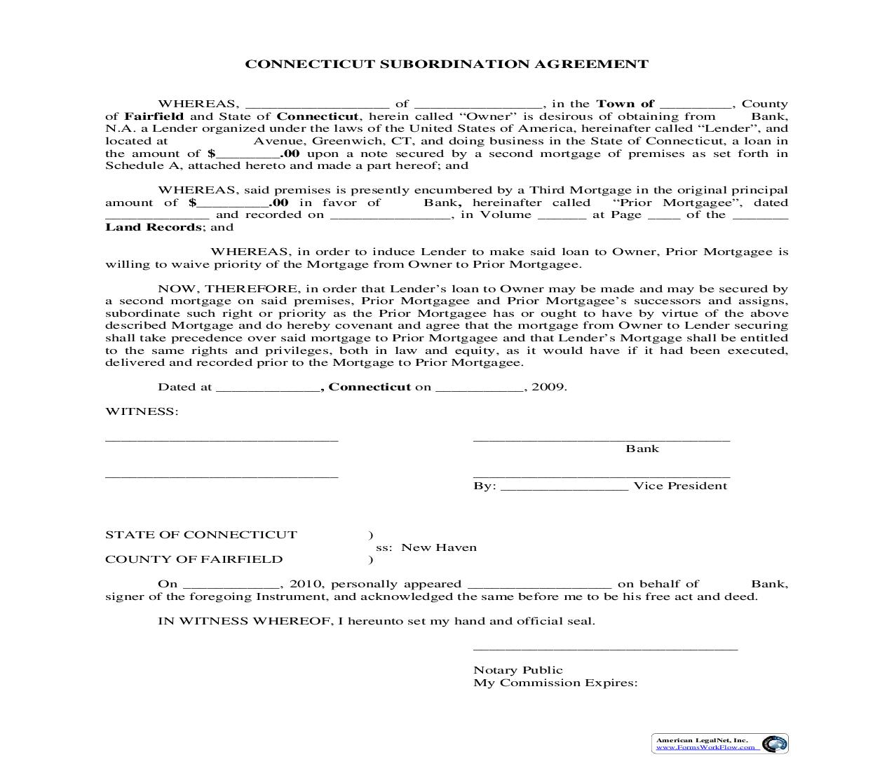 Subordination Agreement | Pdf Fpdf Doc Docx | Connecticut