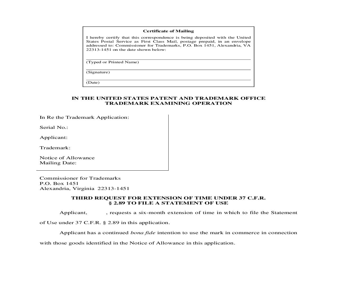 Extension Request Third Request for Extension of Time to File a Statement of Use | Pdf Doc Docx | Cooley IP Forms