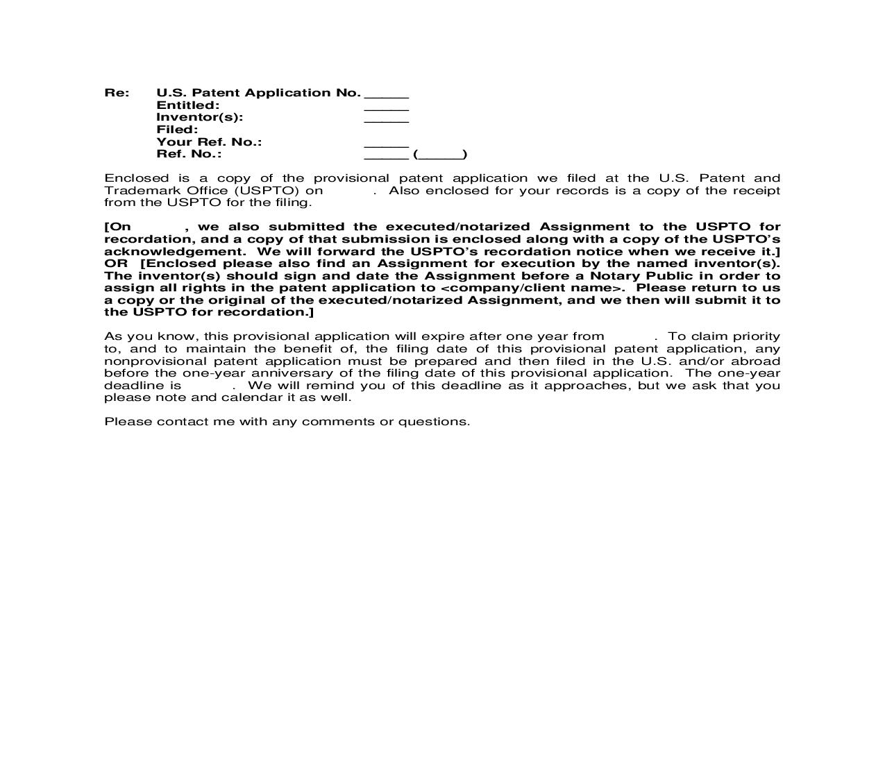 PATENT FORM LETTER Provisional Application Transmittal to Client | Pdf Doc Docx | Cooley IP Forms