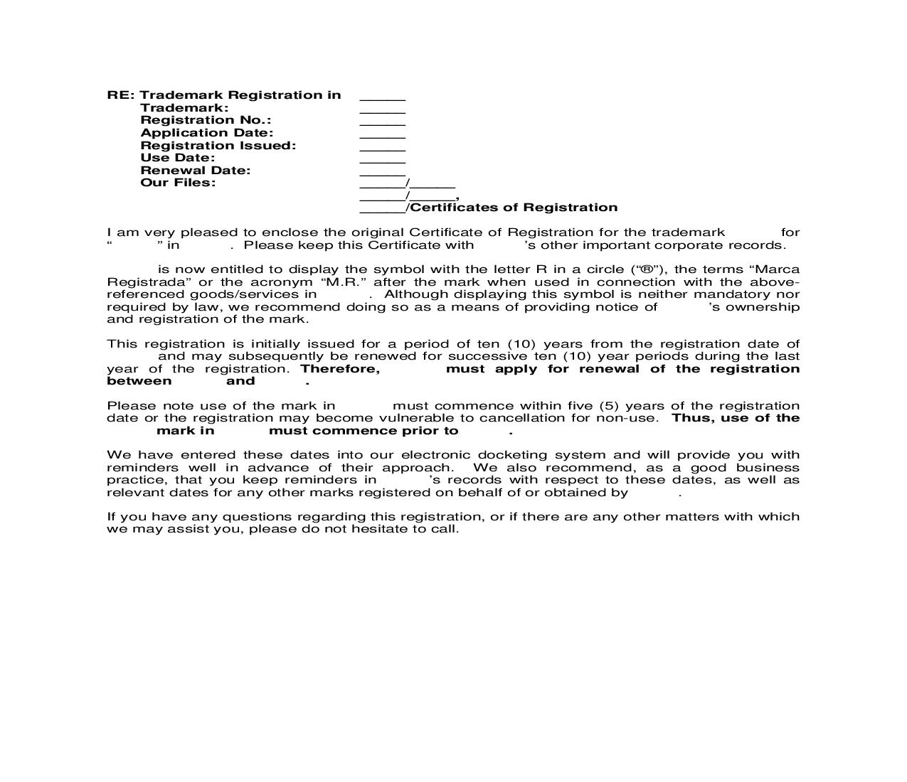 Foreign Registration Brazil Letter to Client enclosing Trademark Registration | Pdf Doc Docx | Cooley IP Forms