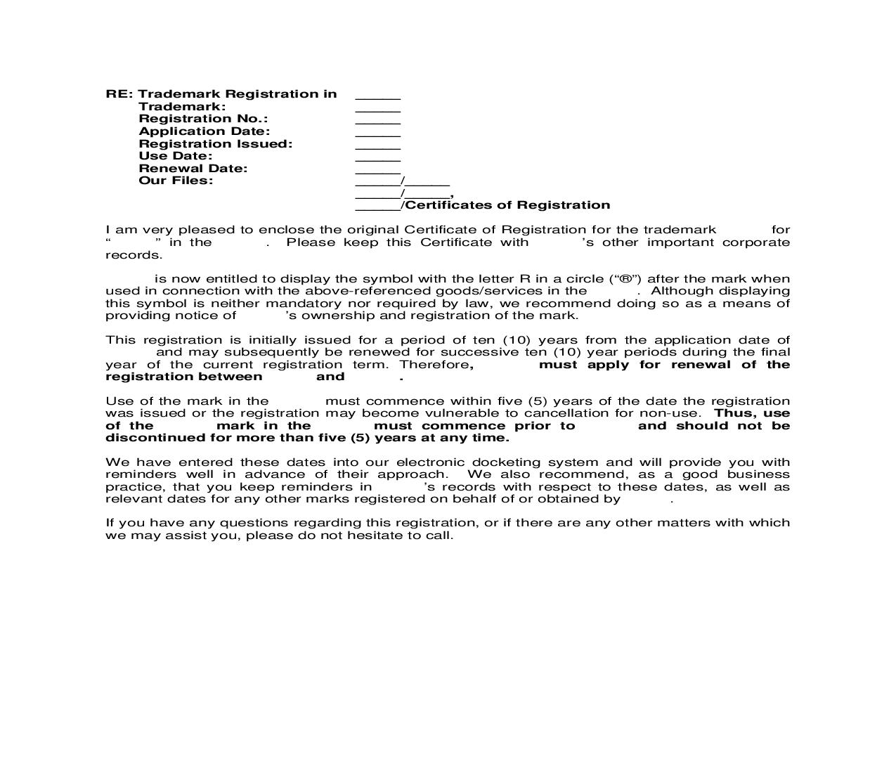 Foreign Registration United Arab Emirates Letter to Client enclosing Trademark Registration | Pdf Doc Docx | Cooley IP Forms
