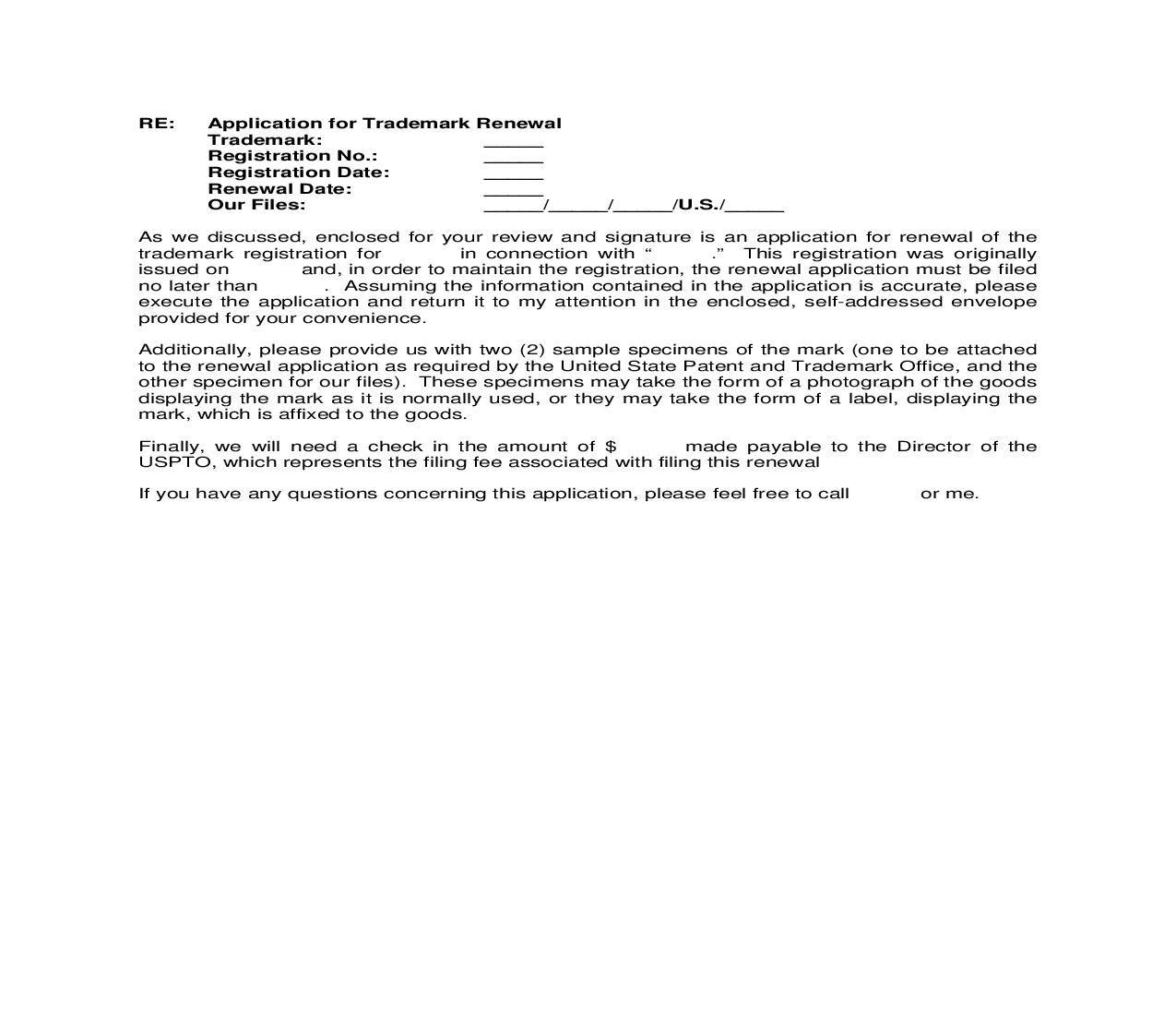 Renewal Letter to Client enclosing Renewal Application for Signature | Pdf Doc Docx | Cooley IP Forms
