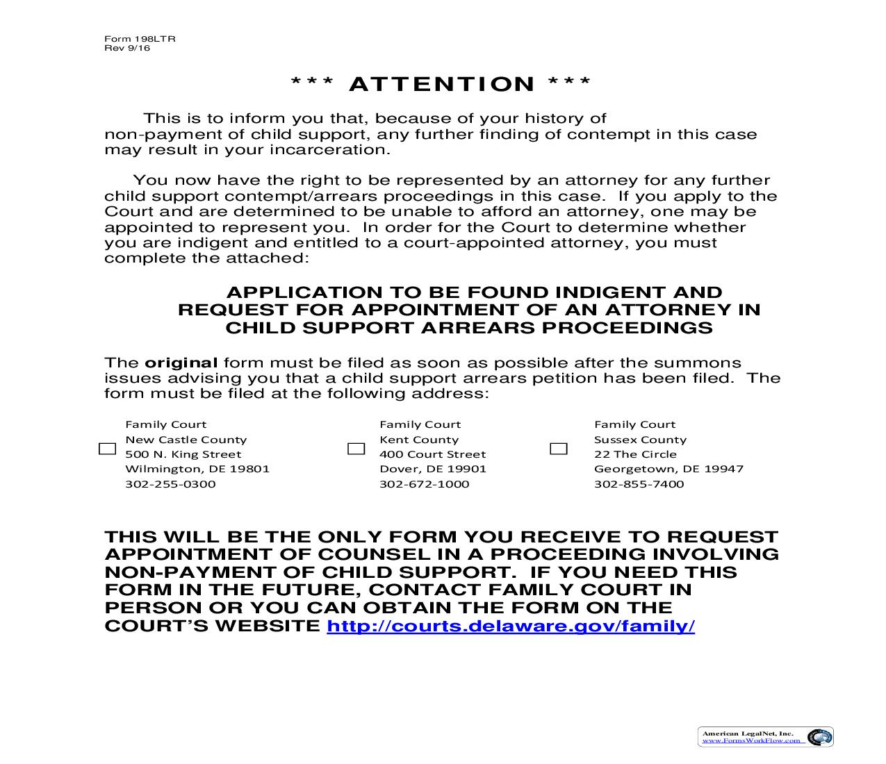 Attention Letter-Application To Be Found Indignet {198LTR}   Pdf Fpdf Doc Docx   Delaware