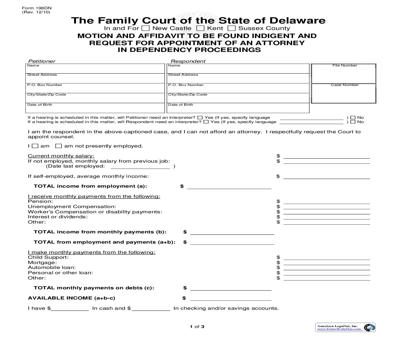 Motion And Affidavit To Be Found Indigent And Request For Appointment Of Attorney In Dependency Proceedings {198DN} | Pdf Fpdf Doc Docx | Delaware