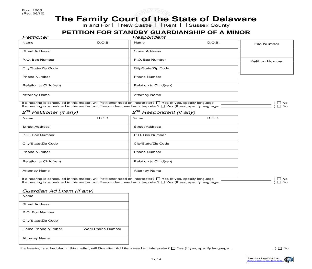 Petition For Standby Guardianship Of A Minor {126S} | Pdf Fpdf Doc Docx | Delaware