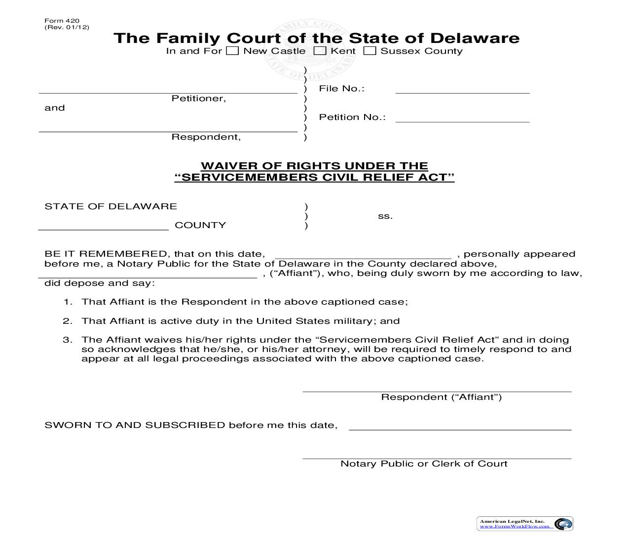Waiver Of Rights {420}   Pdf Fpdf Doc Docx   Delaware