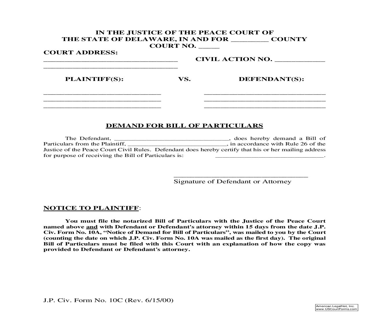 Demand For Bill Of Particulars {10 C}   Pdf Fpdf Doc Docx   Delaware